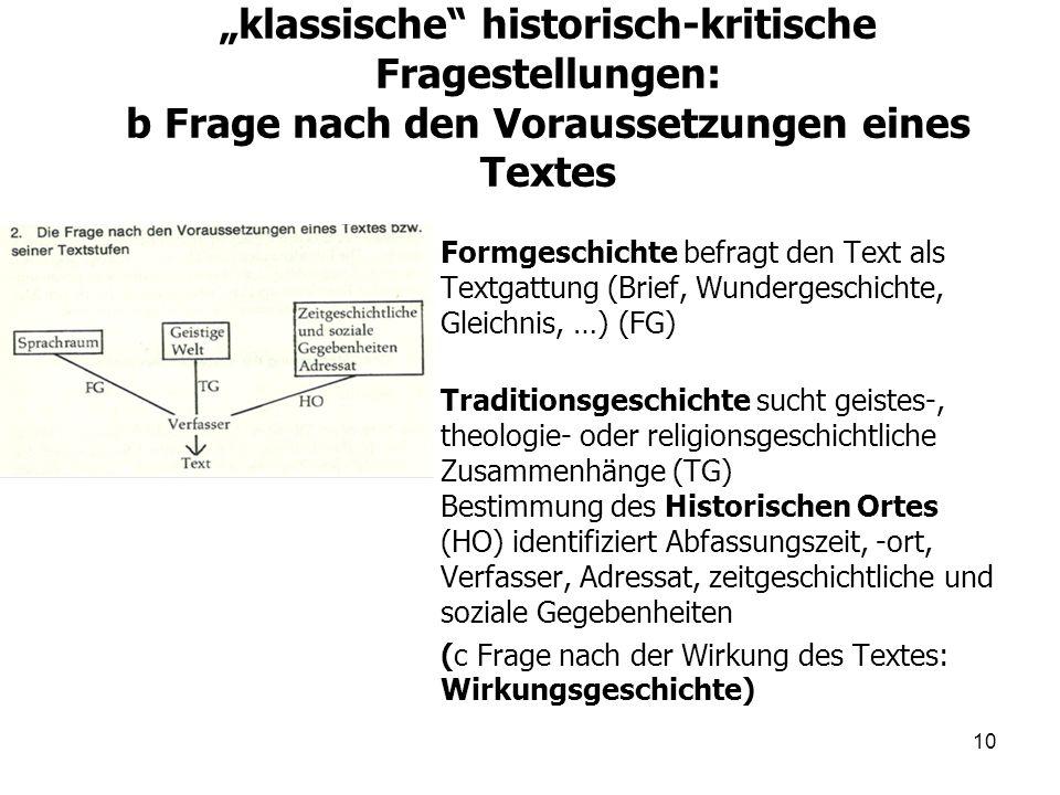 """""""klassische historisch-kritische Fragestellungen: b Frage nach den Voraussetzungen eines Textes"""