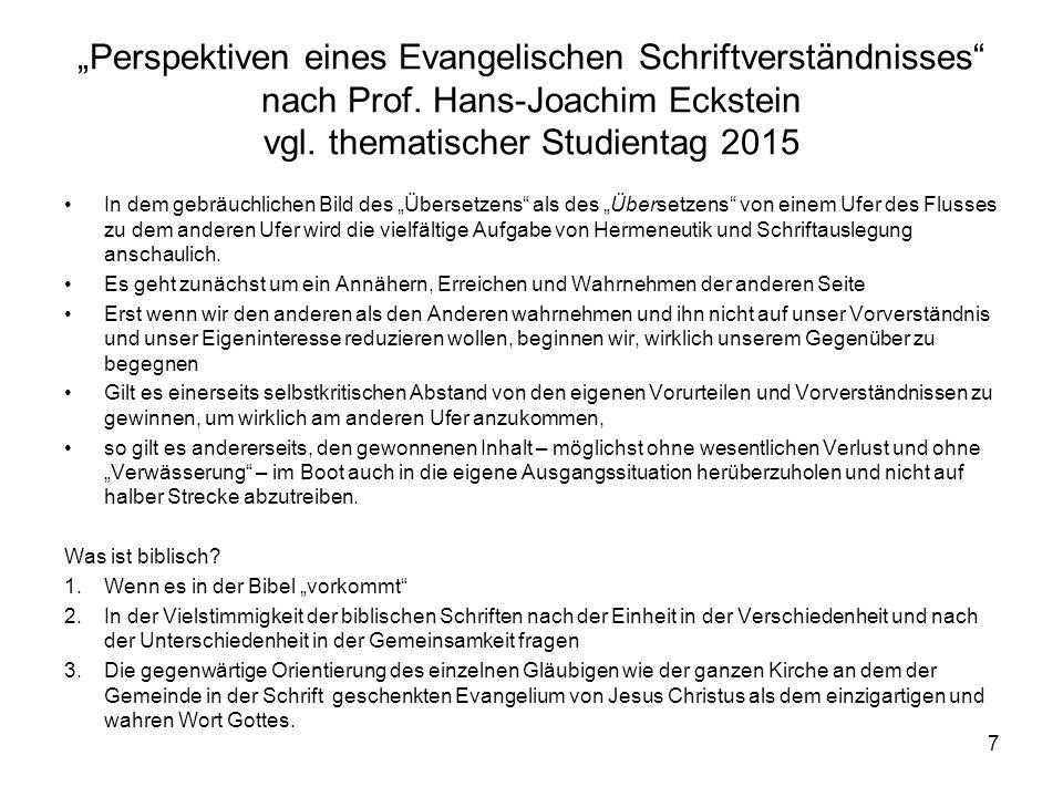 """""""Perspektiven eines Evangelischen Schriftverständnisses nach Prof"""