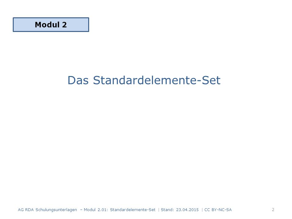 Das Standardelemente-Set