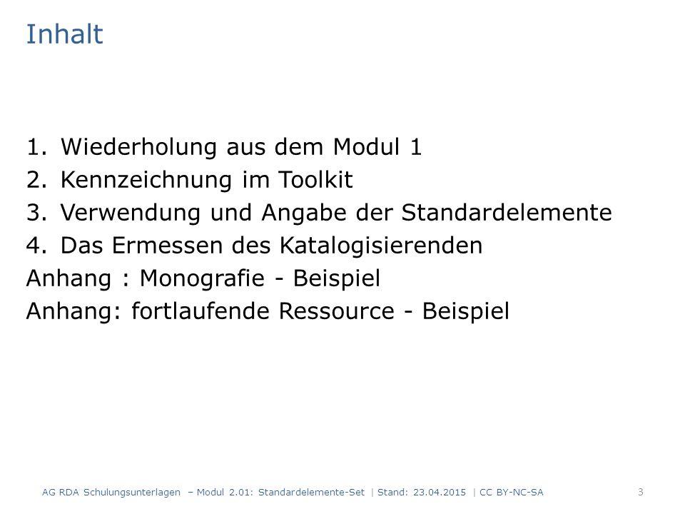 Inhalt Wiederholung aus dem Modul 1 Kennzeichnung im Toolkit