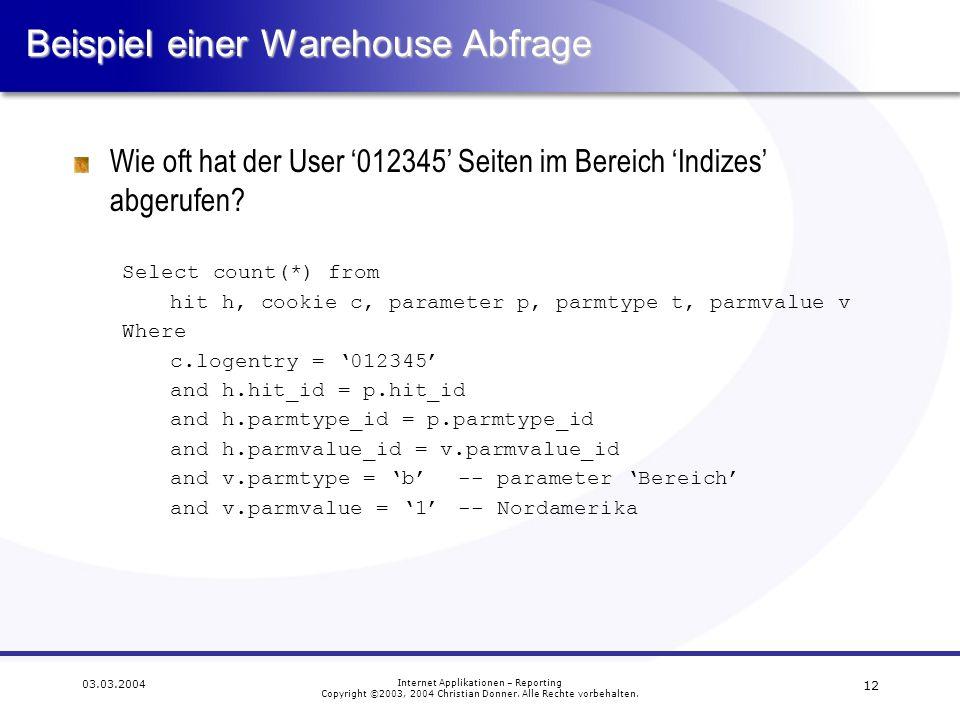Beispiel einer Warehouse Abfrage
