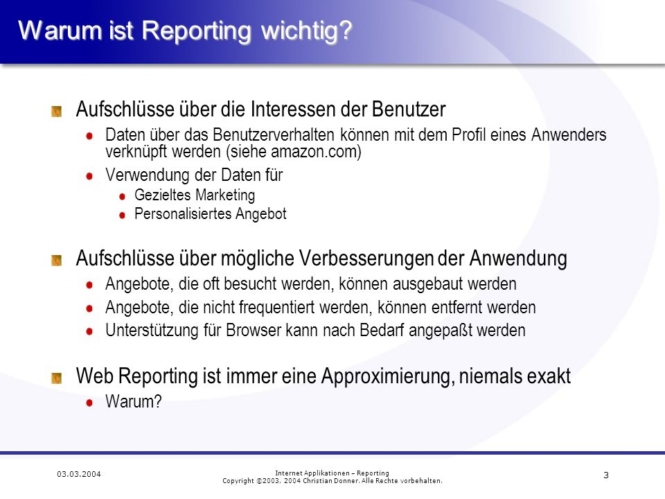 Warum ist Reporting wichtig