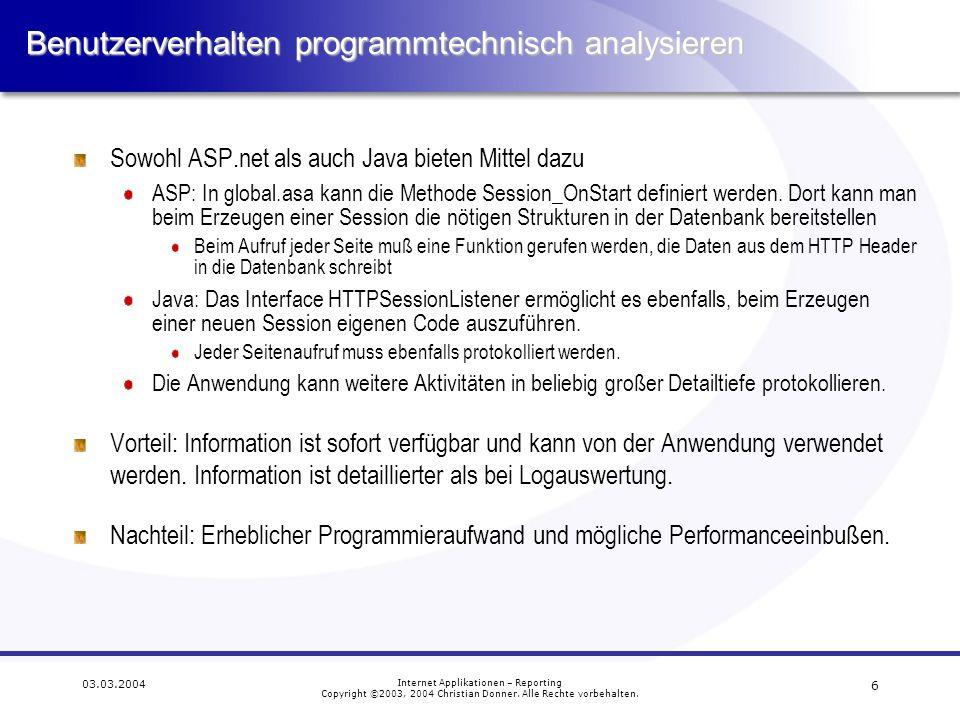 Benutzerverhalten programmtechnisch analysieren