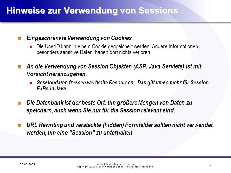 Hinweise zur Verwendung von Sessions