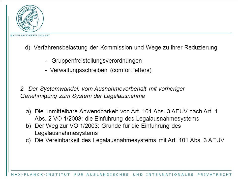 d) Verfahrensbelastung der Kommission und Wege zu ihrer Reduzierung