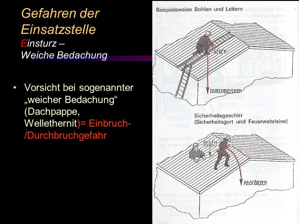 Gefahren der Einsatzstelle Einsturz – Weiche Bedachung