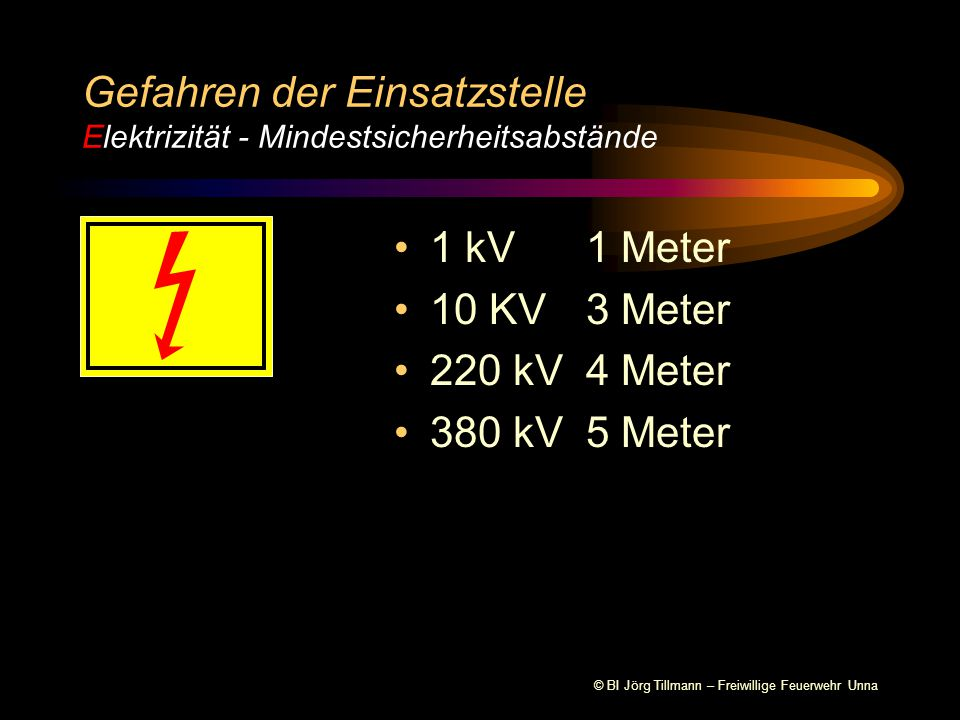 Gefahren der Einsatzstelle Elektrizität - Mindestsicherheitsabstände