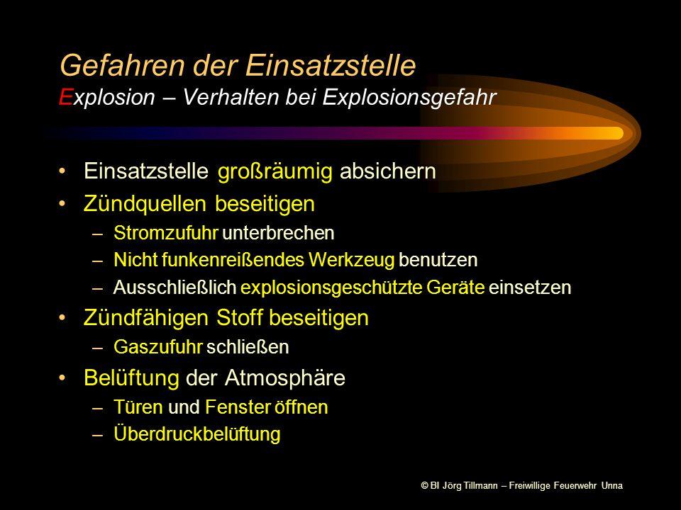 Gefahren der Einsatzstelle Explosion – Verhalten bei Explosionsgefahr