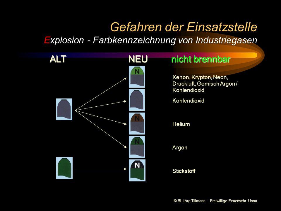 Gefahren der Einsatzstelle Explosion - Farbkennzeichnung von Industriegasen