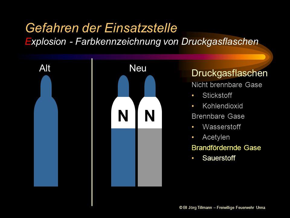 Gefahren der Einsatzstelle Explosion - Farbkennzeichnung von Druckgasflaschen