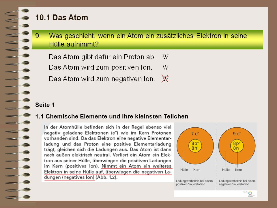 10.1 Das Atom Was geschieht, wenn ein Atom ein zusätzliches Elektron in seine Hülle aufnimmt Seite 1.