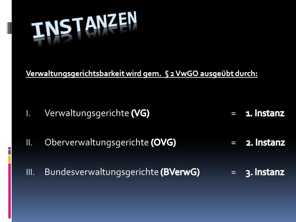 Instanzen Verwaltungsgerichte (VG) = 1. Instanz
