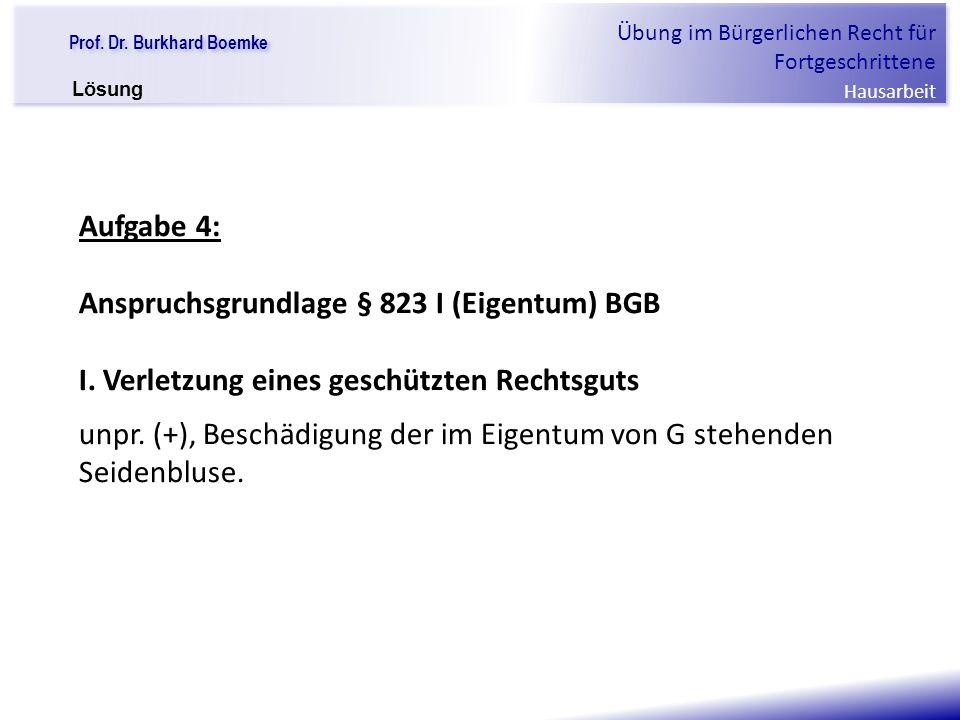 Anspruchsgrundlage § 823 I (Eigentum) BGB
