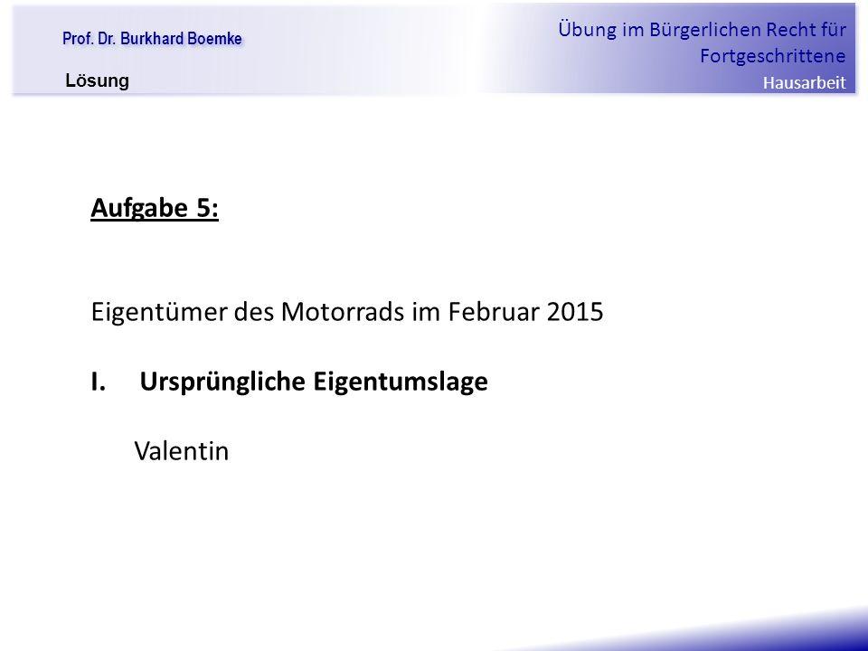 Eigentümer des Motorrads im Februar 2015 Ursprüngliche Eigentumslage