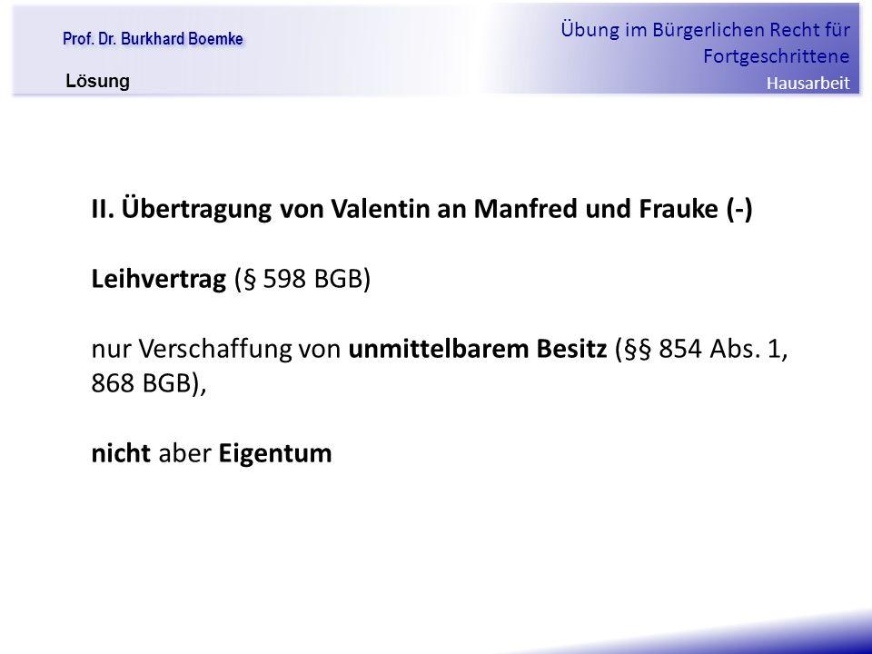 II. Übertragung von Valentin an Manfred und Frauke (-)