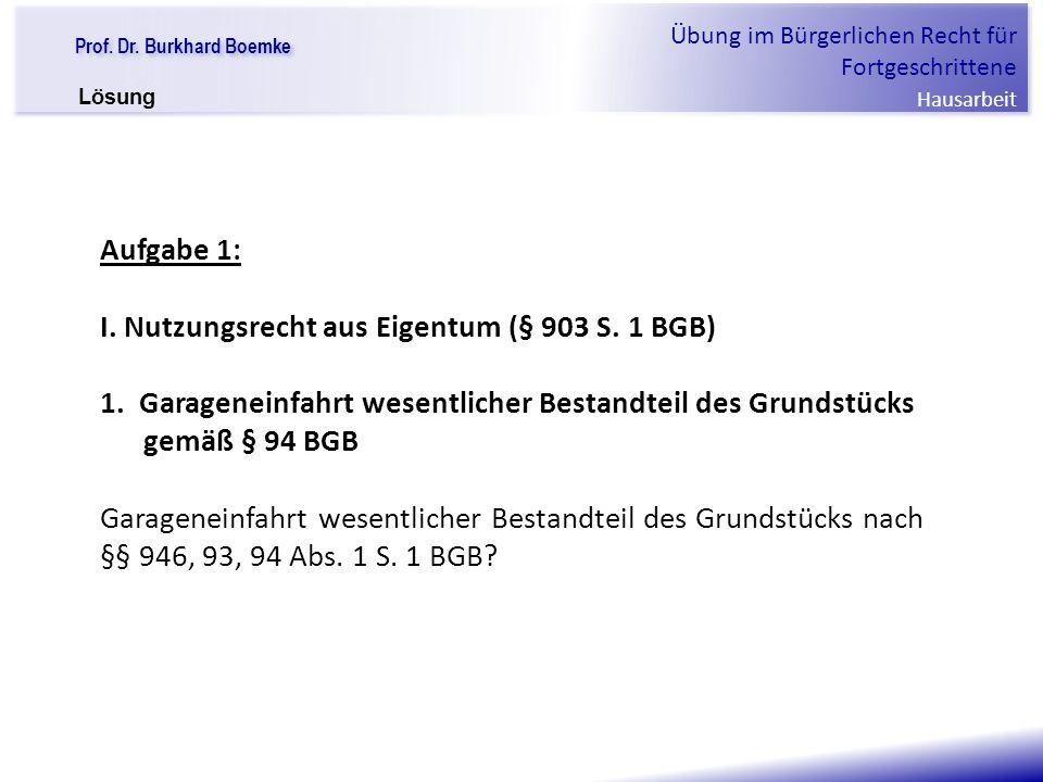 I. Nutzungsrecht aus Eigentum (§ 903 S. 1 BGB)