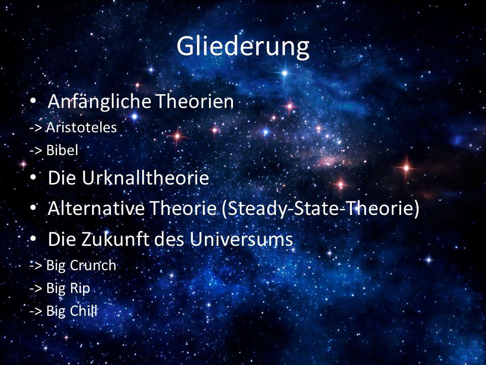 Gliederung Anfängliche Theorien Die Urknalltheorie