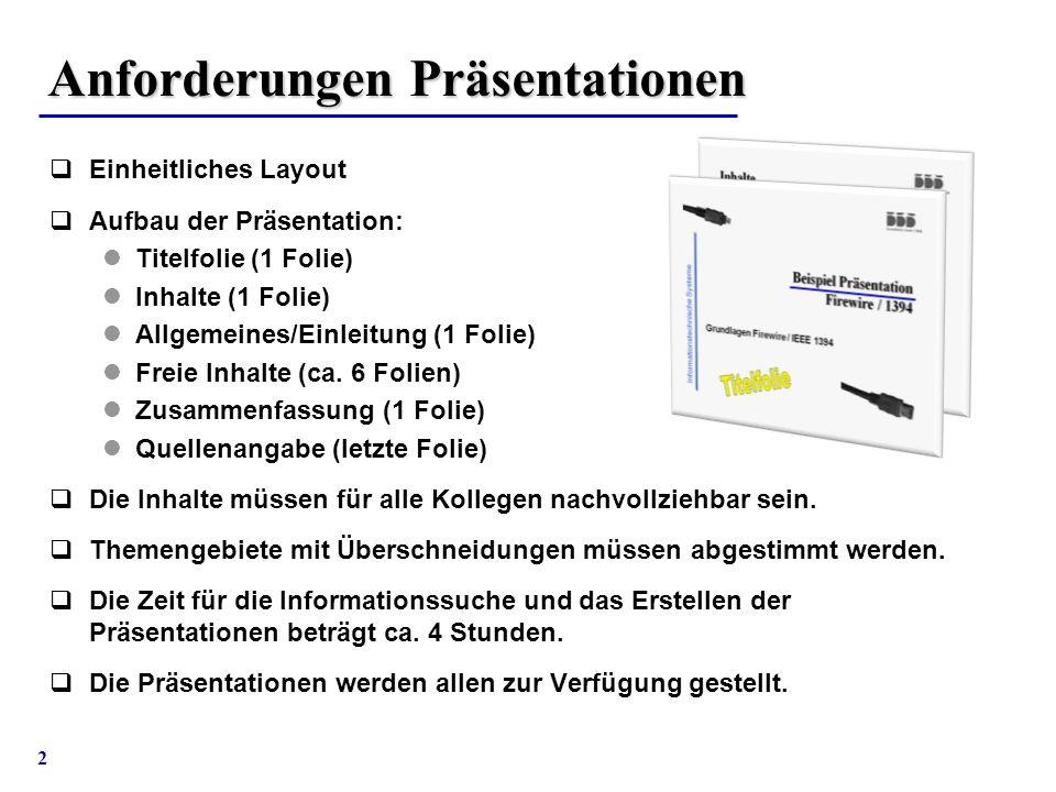 Anforderungen Präsentationen