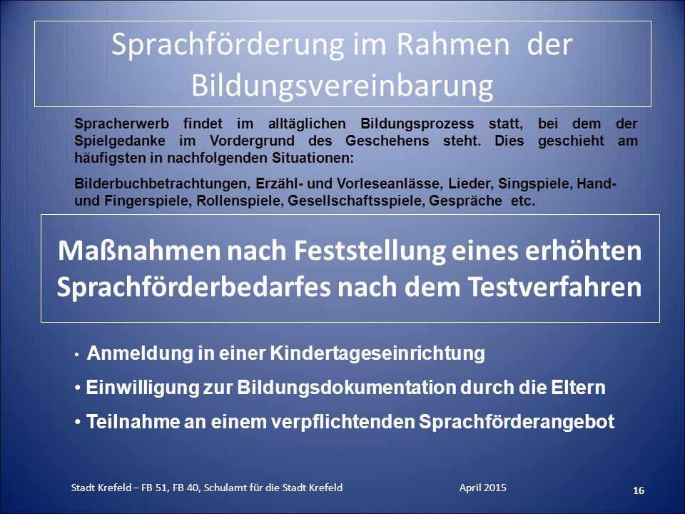 Sprachförderung im Rahmen der Bildungsvereinbarung