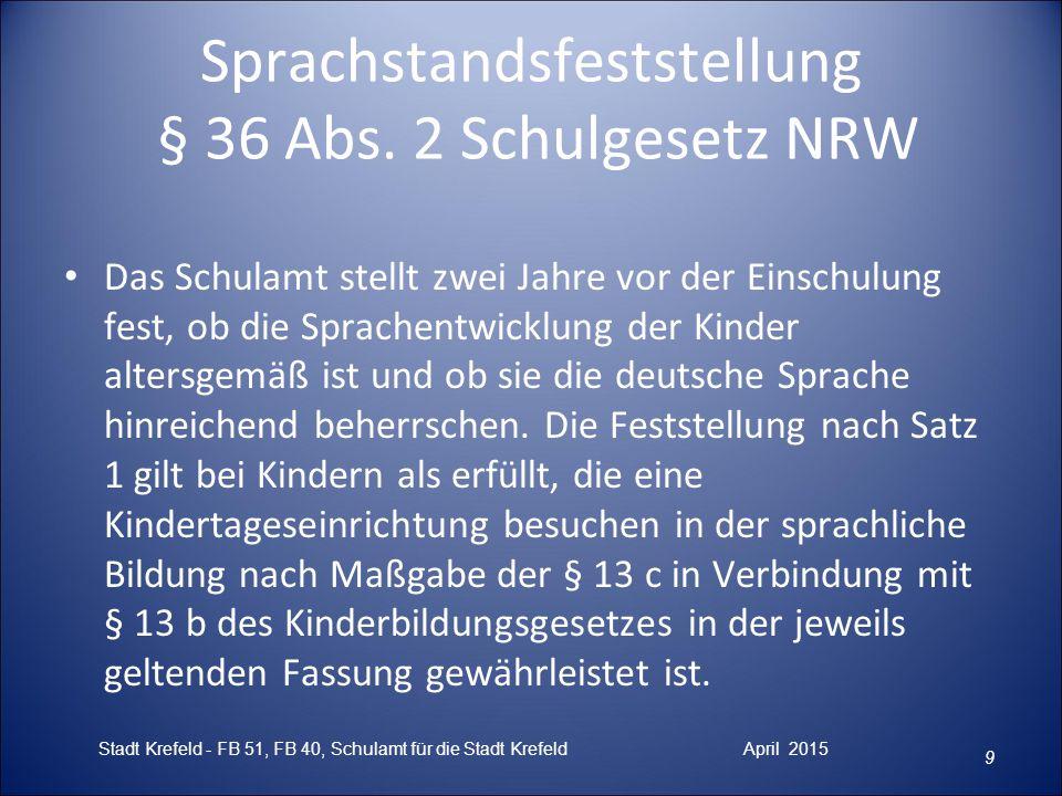 Sprachstandsfeststellung § 36 Abs. 2 Schulgesetz NRW