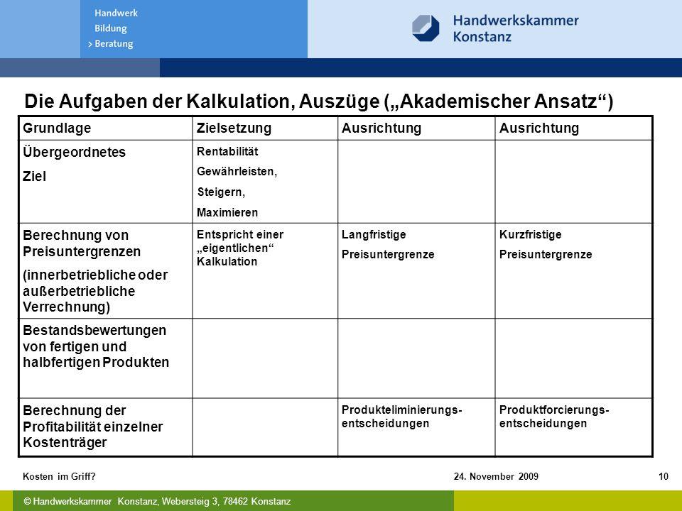 """Die Aufgaben der Kalkulation, Auszüge (""""Akademischer Ansatz )"""