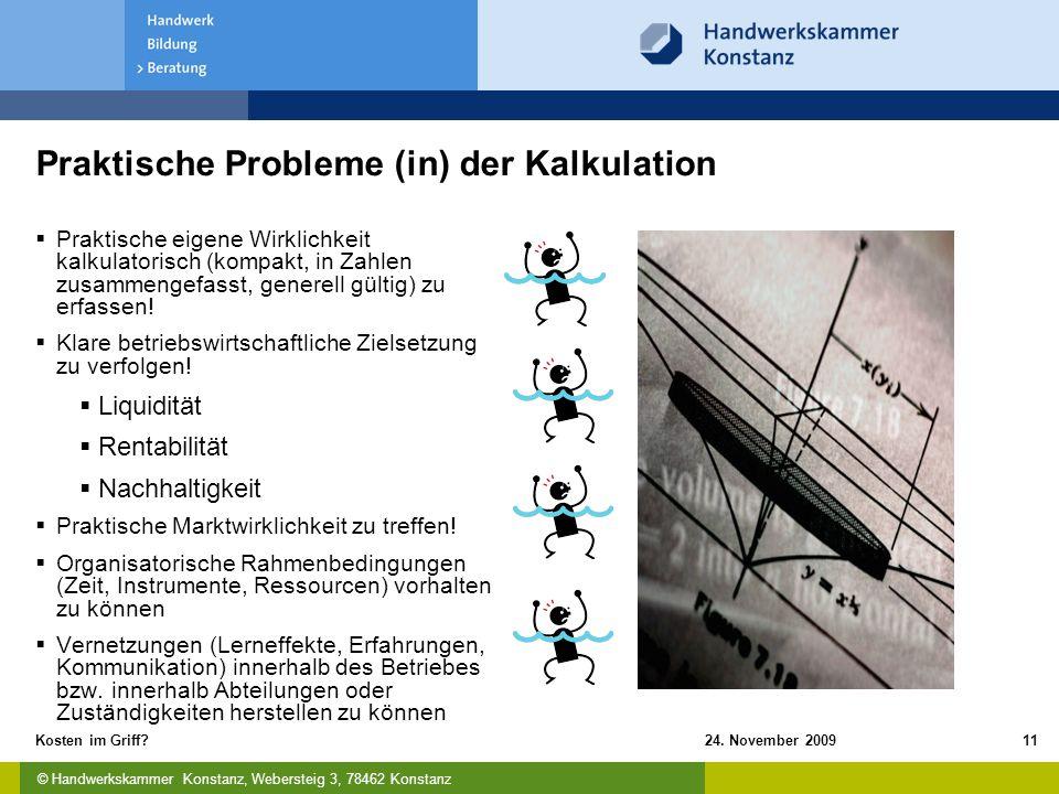 Praktische Probleme (in) der Kalkulation