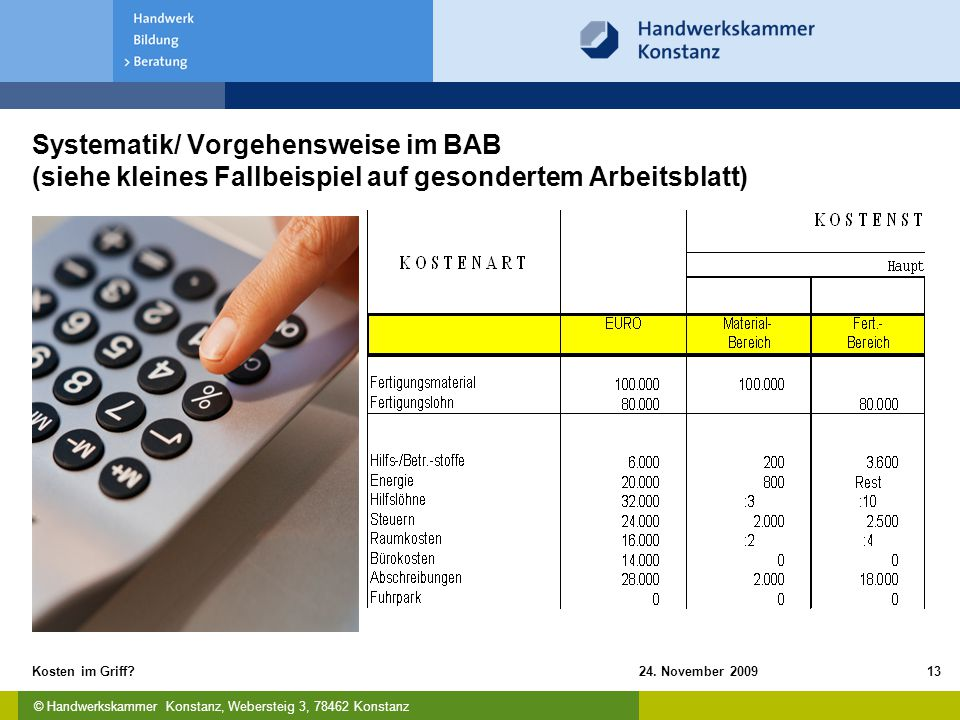 Systematik/ Vorgehensweise im BAB (siehe kleines Fallbeispiel auf gesondertem Arbeitsblatt)