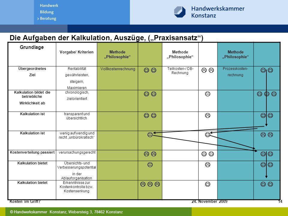 """Die Aufgaben der Kalkulation, Auszüge, (""""Praxisansatz )"""