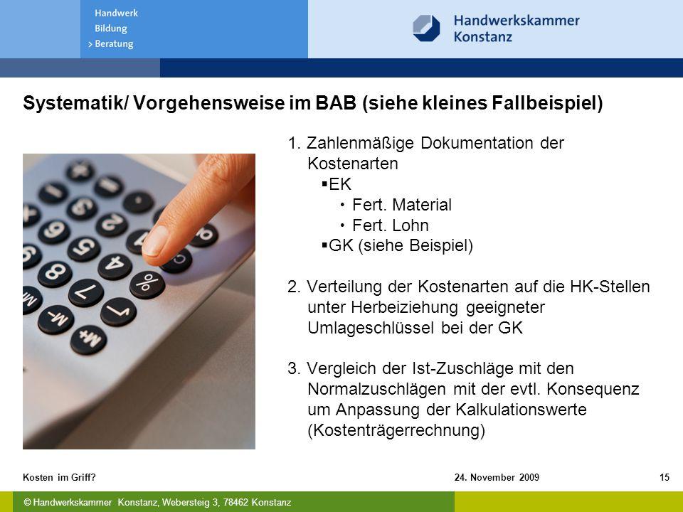 Systematik/ Vorgehensweise im BAB (siehe kleines Fallbeispiel)