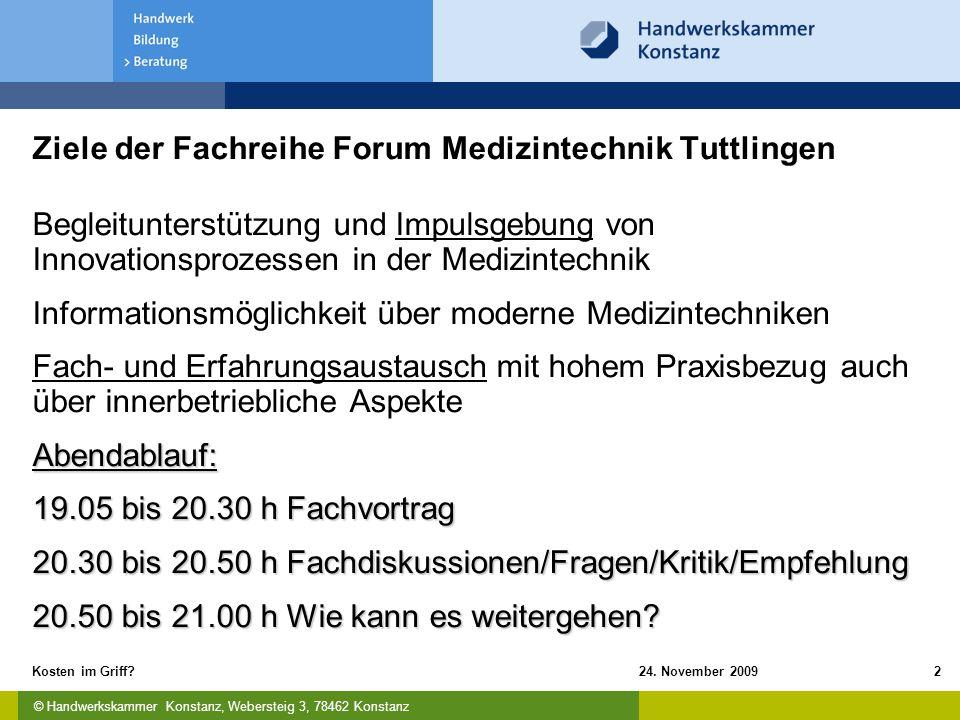 Ziele der Fachreihe Forum Medizintechnik Tuttlingen