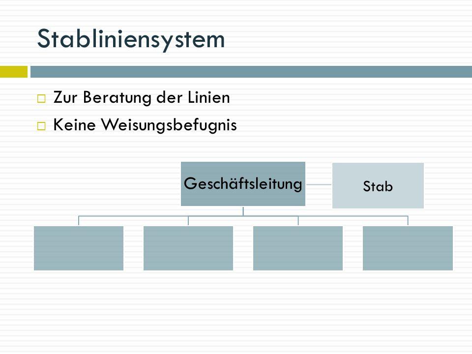 Stabliniensystem Zur Beratung der Linien Keine Weisungsbefugnis