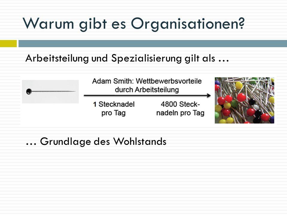Warum gibt es Organisationen