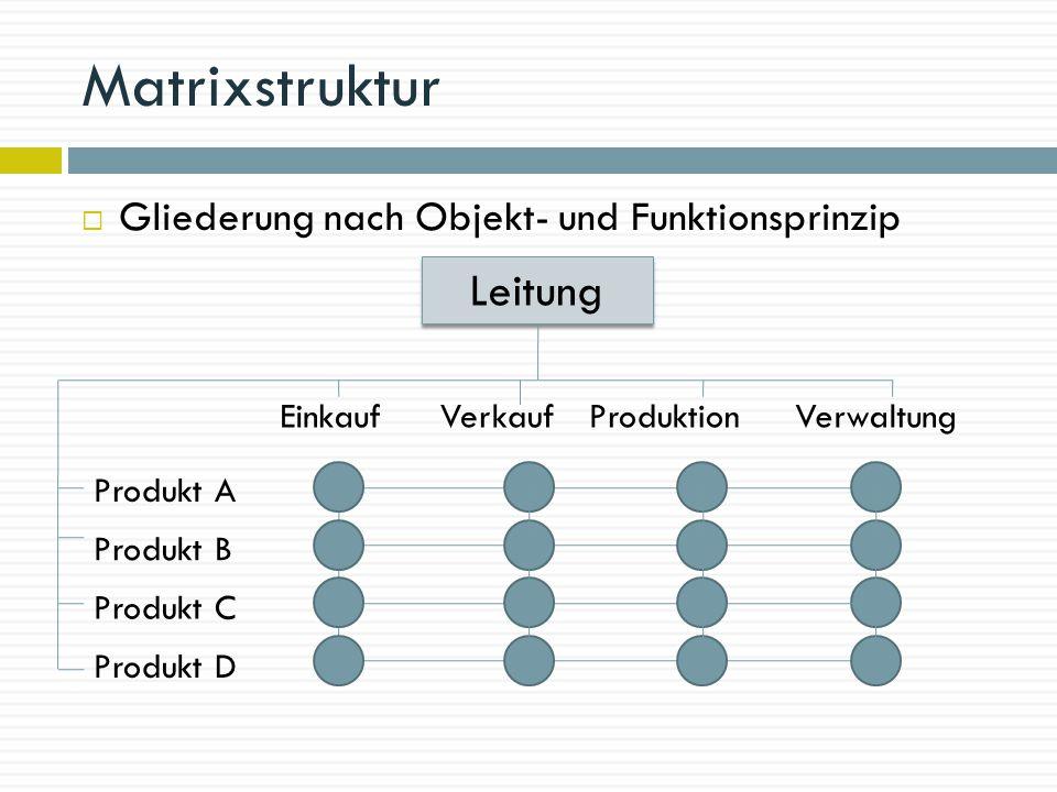 Matrixstruktur Leitung Gliederung nach Objekt- und Funktionsprinzip