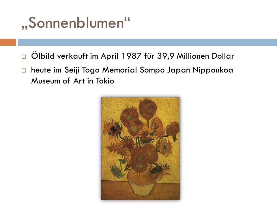 """""""Sonnenblumen Ölbild verkauft im April 1987 für 39,9 Millionen Dollar"""