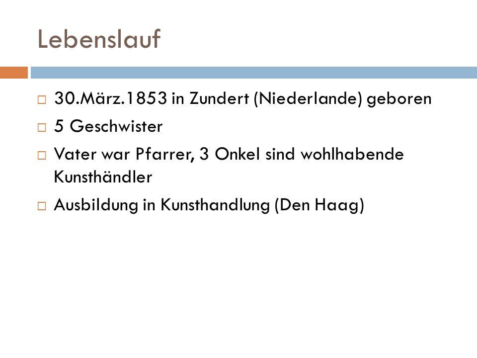 Lebenslauf 30.März.1853 in Zundert (Niederlande) geboren 5 Geschwister