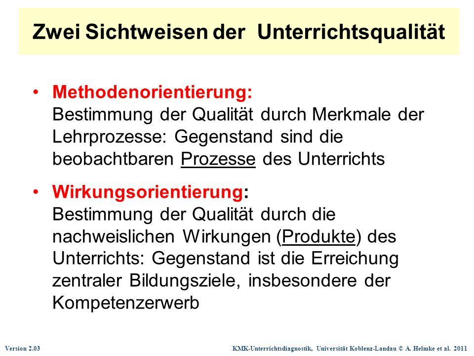 Zwei Sichtweisen der Unterrichtsqualität