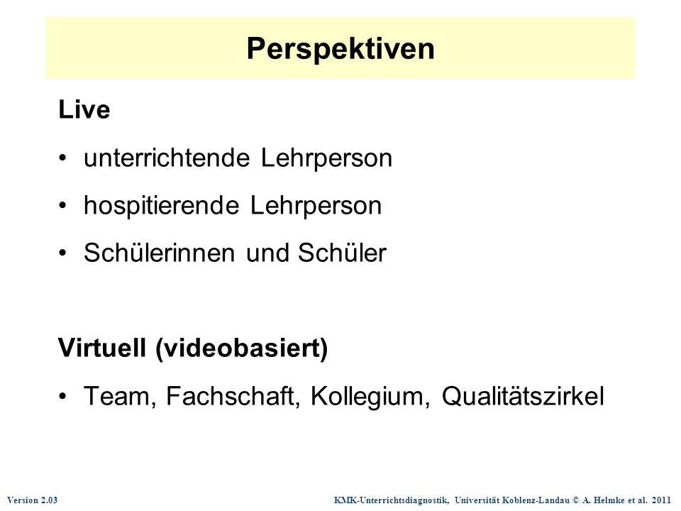 Perspektiven Live unterrichtende Lehrperson hospitierende Lehrperson