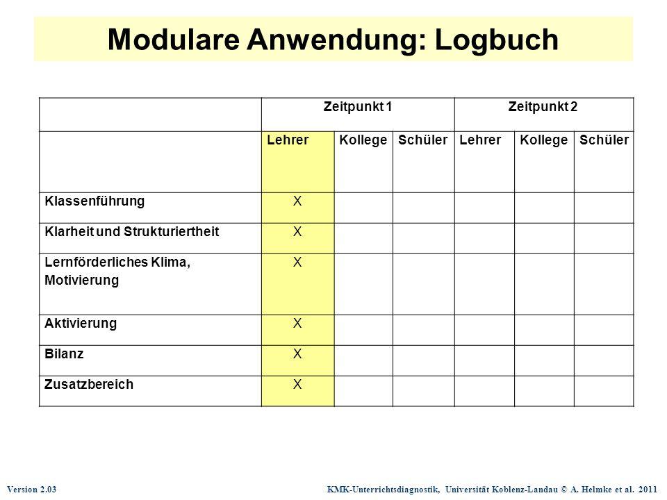 Modulare Anwendung: Logbuch