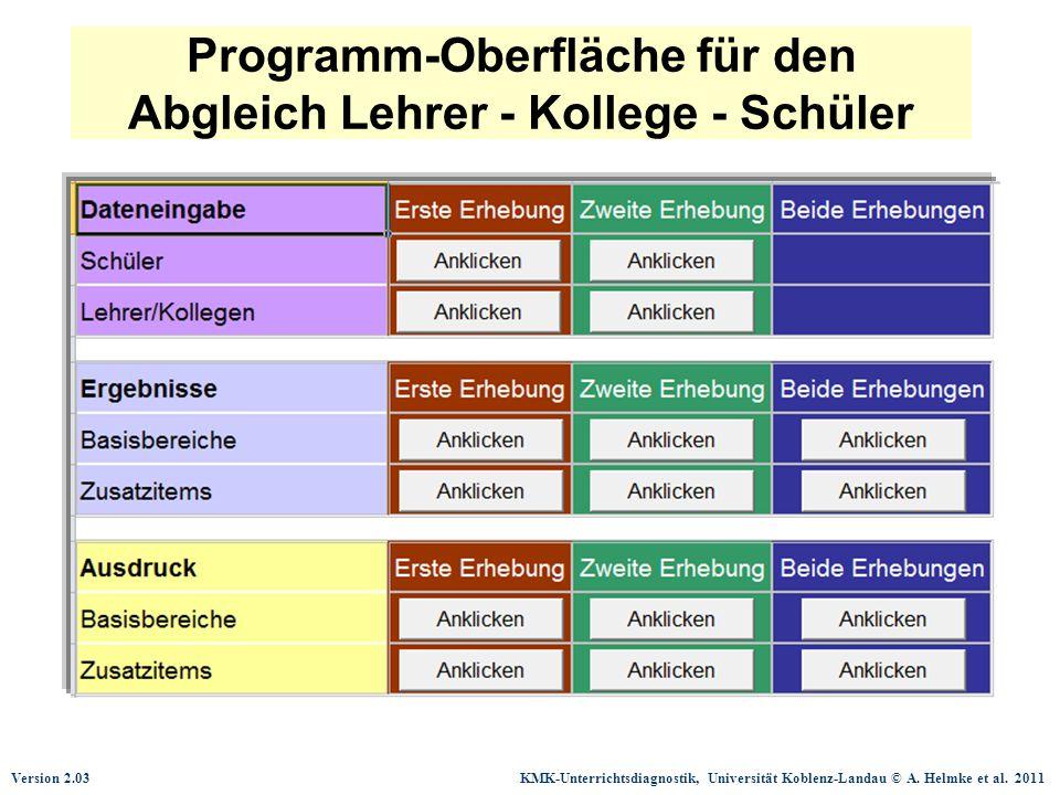 Programm-Oberfläche für den Abgleich Lehrer - Kollege - Schüler