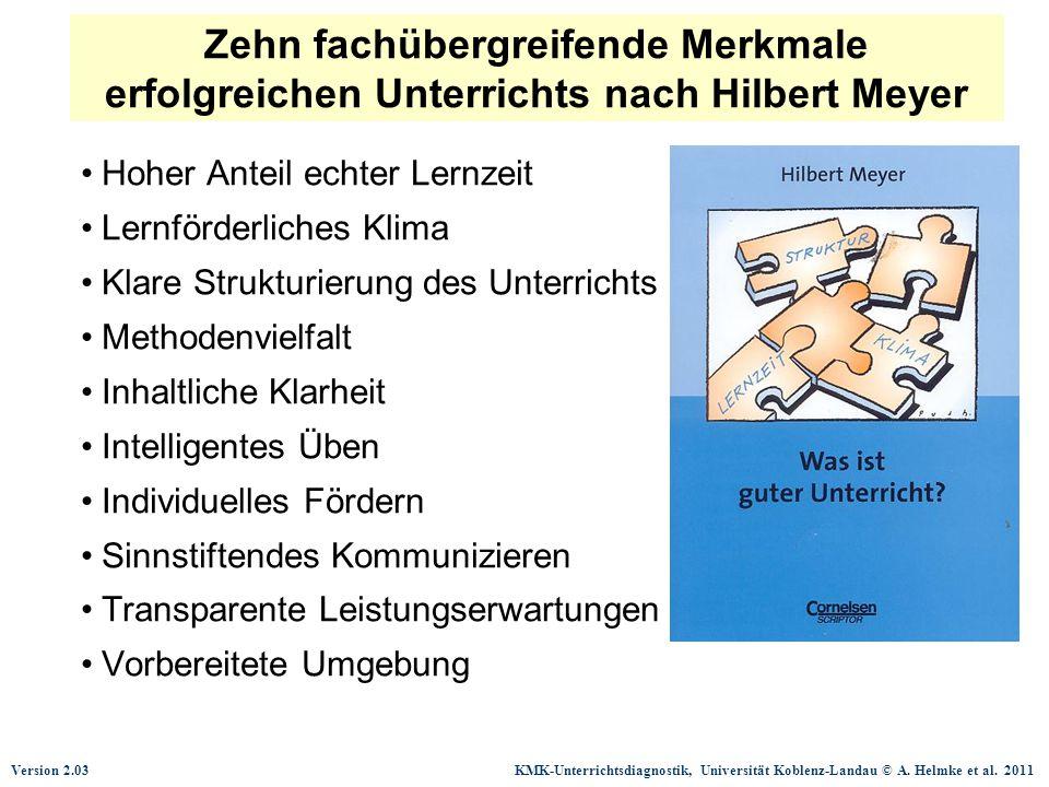 Zehn fachübergreifende Merkmale erfolgreichen Unterrichts nach Hilbert Meyer