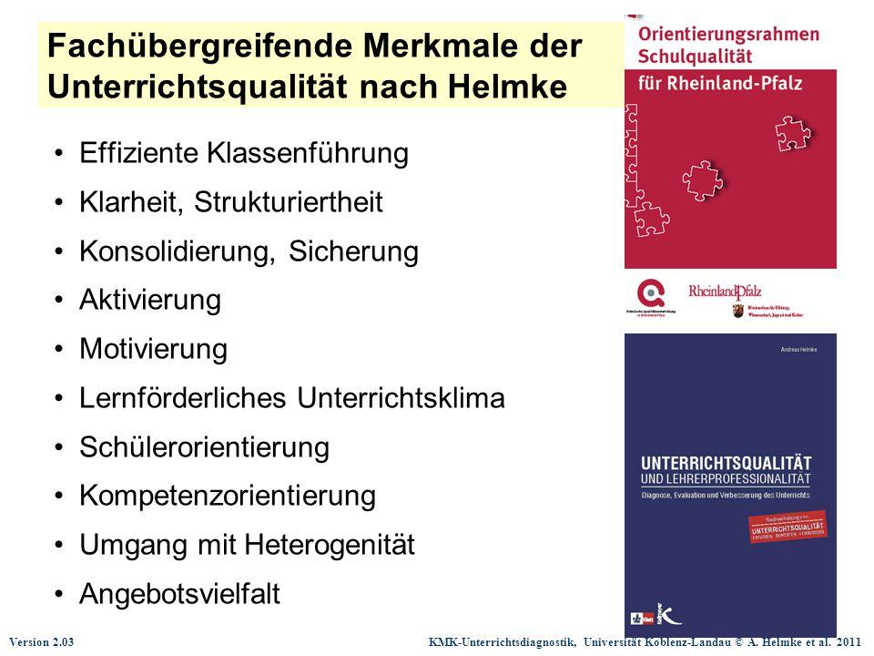 Fachübergreifende Merkmale der Unterrichtsqualität nach Helmke