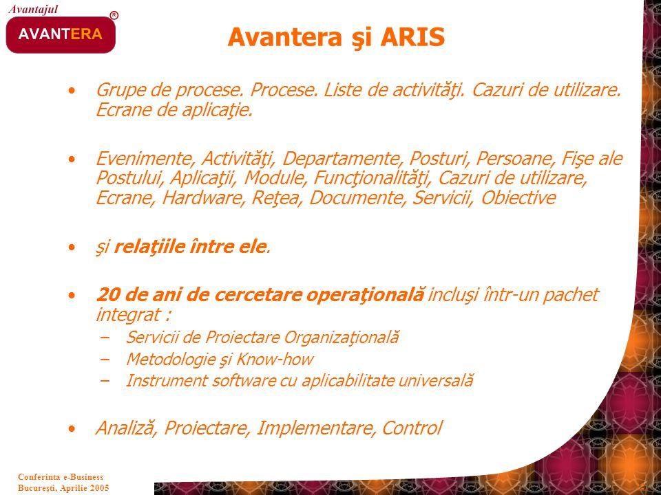 Avantera şi ARIS Grupe de procese. Procese. Liste de activităţi. Cazuri de utilizare. Ecrane de aplicaţie.