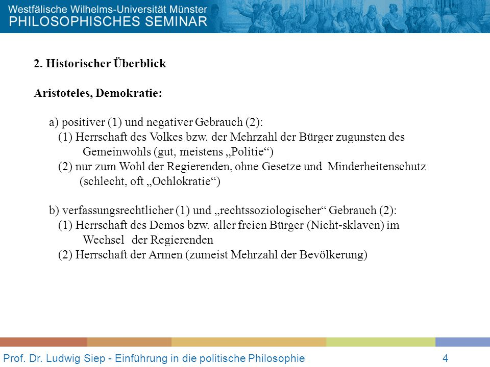 Prof. Dr. Ludwig Siep - Einführung in die politische Philosophie