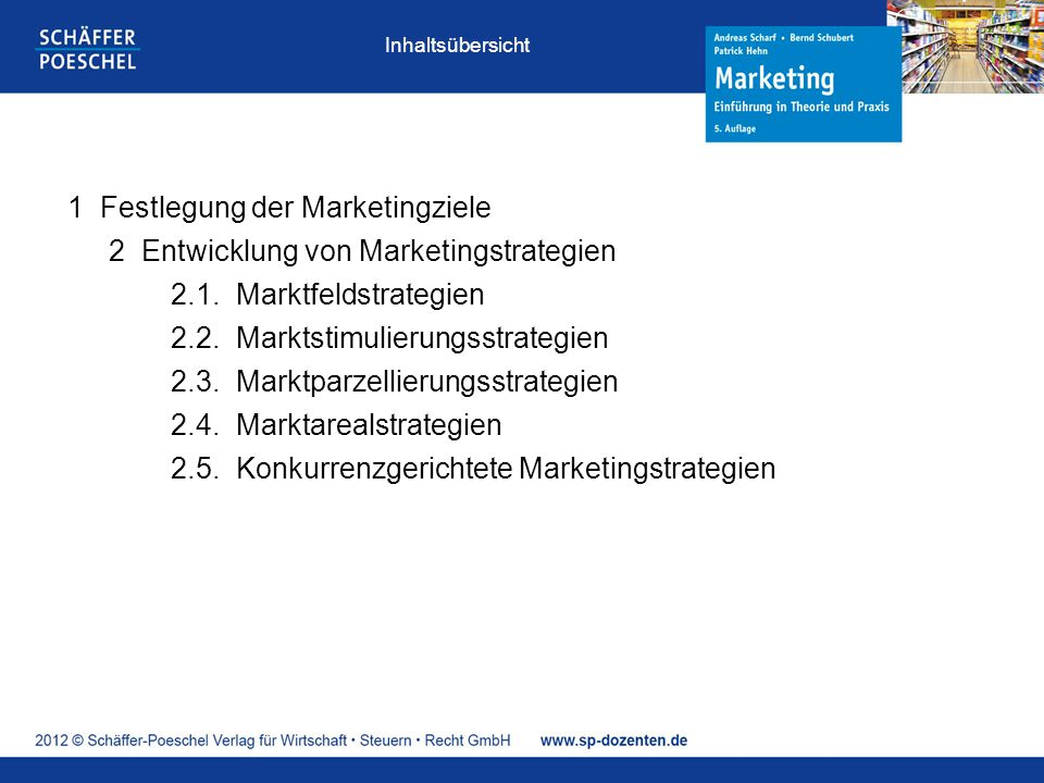1 Festlegung der Marketingziele 2 Entwicklung von Marketingstrategien