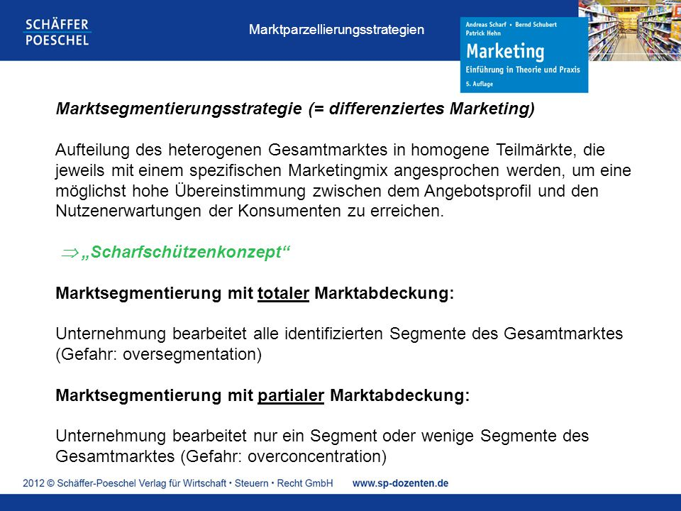 Marktsegmentierungsstrategie (= differenziertes Marketing)