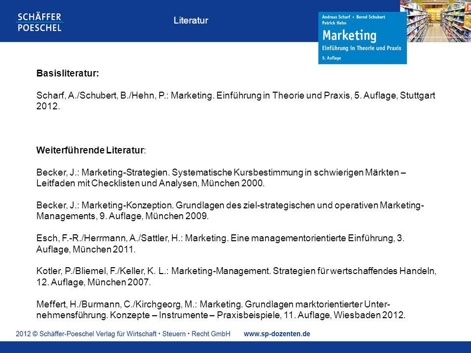 Literatur Basisliteratur: Scharf, A./Schubert, B./Hehn, P.: Marketing. Einführung in Theorie und Praxis, 5. Auflage, Stuttgart 2012.