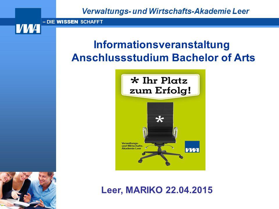 Informationsveranstaltung Anschlussstudium Bachelor of Arts
