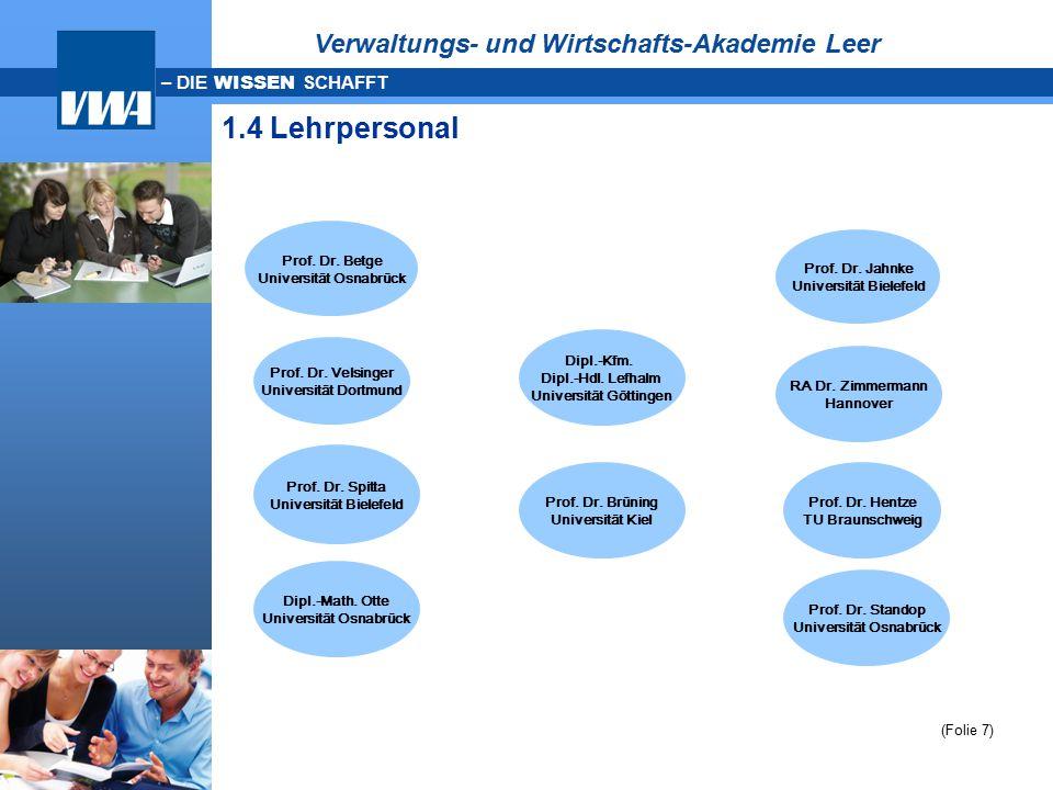 1.4 Lehrpersonal Verwaltungs- und Wirtschafts-Akademie Leer