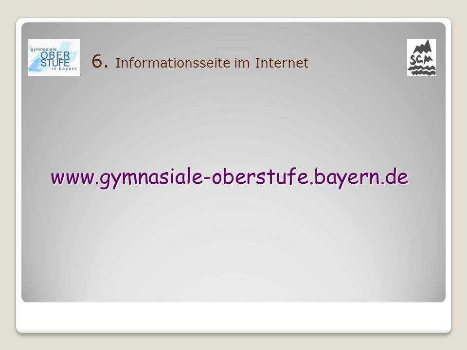 6. Informationsseite im Internet