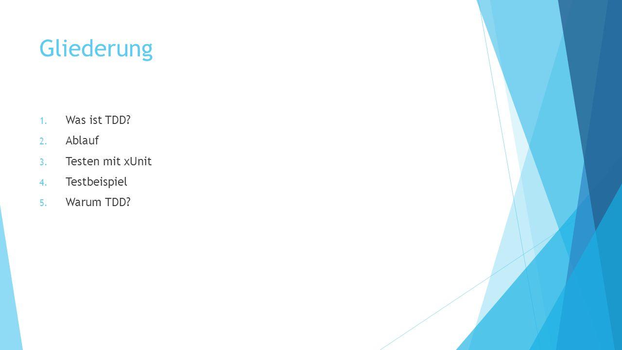 Gliederung Was ist TDD Ablauf Testen mit xUnit Testbeispiel